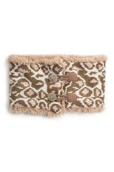 Muk Luks Leopard Faux Fur Trim Neck Warmer Pink