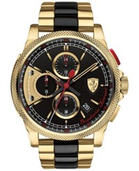 Scuderia Ferrari Men's Chronograph Formula Italia S Gold Tone And Black Ion Plated Stainless Steel Bracelet Watch 46Mm 0830316 Two Tone