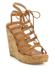 Joie Larissa Leather Lace Up Cork Wedge Sandals Black Cuoio