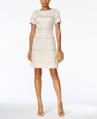 Vince Camuto Shimmer Jacquard Party Dress Ivory