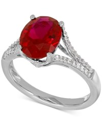Macy's Lab Created Ruby 3 5 8 Ct. T.W. And White Sapphire 1 5 Ct. T.W. Ring In Sterling Silver