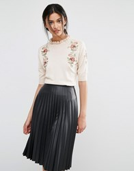 Oasis Embroidered Frill Knit Jumper Blush Pink