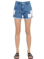 House Of Holland Embroidered Patches Cotton Denim Shorts