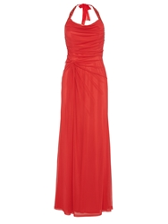 Anoushka G Lola Mesh Halterneck Maxi Jersey Dress Red