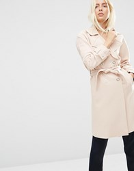 Asos Bonded Trench Nude Pink