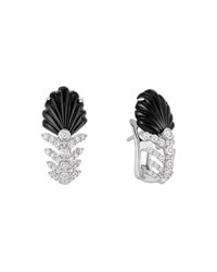 Lalique 18K White Gold Lys Diamond And Onyx Earrings