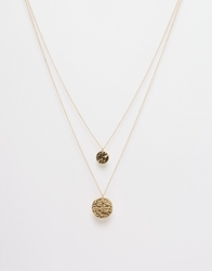 Paper Dolls Double Layer Circle Pendant Necklace Gold
