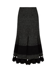 Proenza Schouler Tasselled Hem Flared Skirt Black White