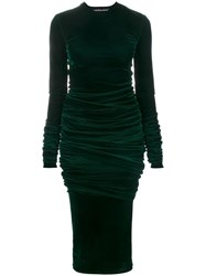 Y Project Ruched Velvet Dress Green