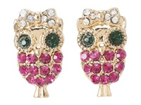 Betsey Johnson Enchanted Forest Owl Stud Earrings Fuchsia Earring Pink