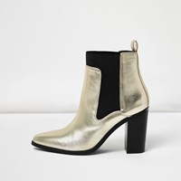 River Island Womens Gold Metallic Heeled Ankle Boots