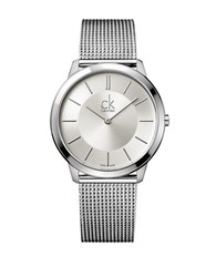 Calvin Klein Mens Swiss Large Minimal Stainless Steel Bracelet Watch Silver