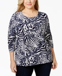 Jm Collection Woman Jm Collection Plus Size Embellished Animal Print Top Only At Macy's
