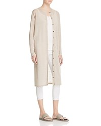 Eileen Fisher Round Neck Long Cardigan Natural