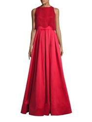 Badgley Mischka Wave Lace Popover Gown Bright Red