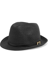 Melissa Odabash Diana Leather Trimmed Straw Fedora Black