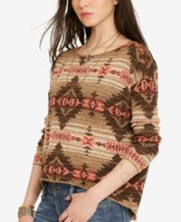 Denim And Supply Ralph Lauren Crew Neck Sweater Brown Multi