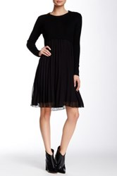 Gracia Pleated Chiffon Sweater Top Dress Black