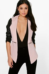 Boohoo Leather Look Sleeve Quilted Blazer Nude