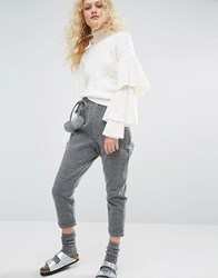 I Love Friday Cropped Trousers With Faux Fur Pom Poms Grey