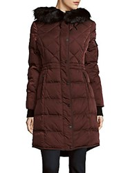 Saks Fifth Avenue Missy Faux Fur And Down Hooded Coat Wine