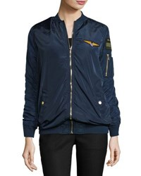 Romeo And Juliet Couture Long Sleeve Patched Bomber Jacket Navy
