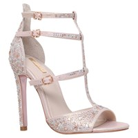 Carvela Gaye Multi Strap Stiletto Sandals Pink Embellished