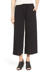 Women's Eileen Fisher Organic Cotton Drawstring Waist Wide Leg Crop Pants
