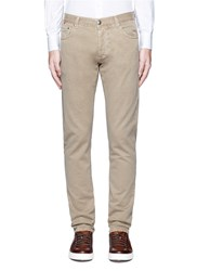 Isaia Cotton Twill Denim Pants Brown