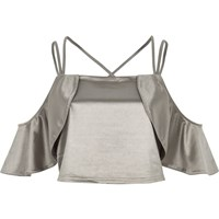 River Island Womens Silver Satin Frill Cold Shoulder Crop Top