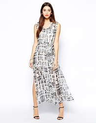Goldie Midi Button Through Shirt Dress In Mono Print Blackwhite