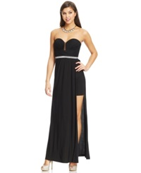 Hailey Logan By Adrianna Papell Juniors' Strapless Jewel Trim Gown Black