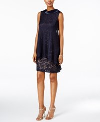 Si Fashions Sl Sequin Lace Shift Dress With Chiffon Overlay Navy