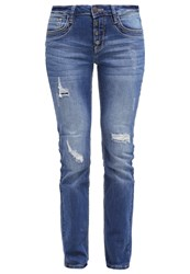 Tom Tailor Carrie Straight Leg Jeans Destroyed Mid Stone Wash Blue Denim