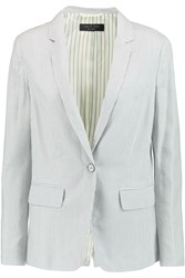 Rag And Bone Chatham Striped Silk And Cotton Blend Blazer White