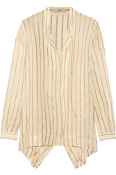 Etro Asymmetric Striped Silk Blend Chiffon Shirt Ivory