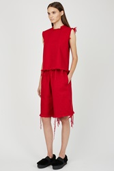 Marques Almeida Denim Long Tracksuit Shorts Red