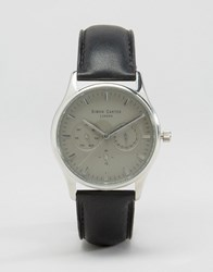 Simon Carter Black Leather Chronograph Watch With Grey Dial Black