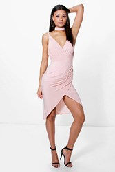 Boohoo Slinky Wrap Tie Detail Midi Dress Blush