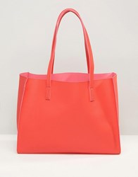 Asos Structured Shopper Bag With Removable Clutch Red