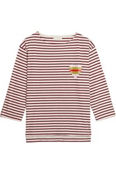 Chinti And Parker Striped Organic Cotton Jersey Top Red