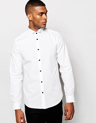 Asos Tux Shirt With Wing Collar And Contrast Buttons White