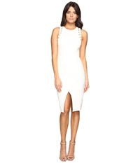 Adelyn Rae Fitted Dress With Shoulder Studs Winter White Women's Dress