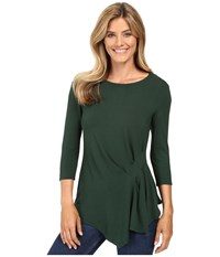 Vince Camuto 3 4 Sleeve Side Ruched Top Forest Night Women's Clothing Green