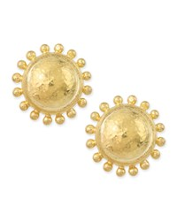 Granulated Dome Stud Earrings Yellow Elizabeth Locke