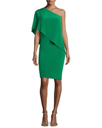 Carmen Marc Valvo One Shoulder Draped Cocktail Dress Size 4 Green Emerald