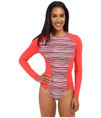 Lole Navagio One Piece Rashguard Sparkling Pink Stripe Women's Swimsuits One Piece Orange