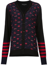 Sonia Rykiel Striped Sleeve Printed Cardigan Black