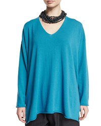 Eskandar Long Sleeve A Line Cashmere Sweater Marine