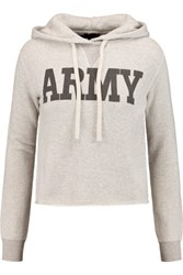 Nlst Cropped Printed Cotton Jersey Hooded Sweatshirt Light Gray